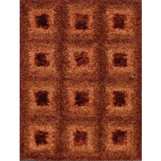 Rust and Brown Shiny Checkered Shag Rug (2.3' x 4')