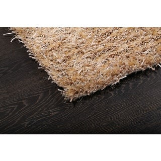 Solid Beige and Ivory Lush Shag Rug (3.1' x 4.10')