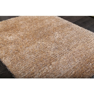 Solid Beige and Ivory Lush Shag Rug (2' x 4')