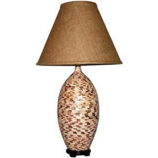 Brown Mullioned Porcelain Mosaic Tiles Table Lamp with Brown Burlap Shade