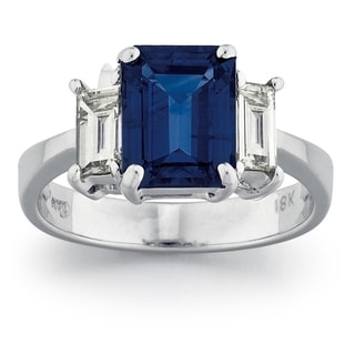 18k White Gold 5/8ct TDW Diamond and Sapphire Ring (G-H, VS1-VS2)