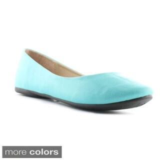 Cherish Women's Giva-1 Basic Textured Round-toe Ballerina Flats