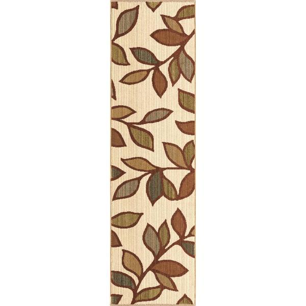 Versailles Shaggy Leaf Beige Rug (2'3 x 8')