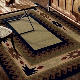 Cherokee San Angelo Green Rug (5'3 x 7'6)