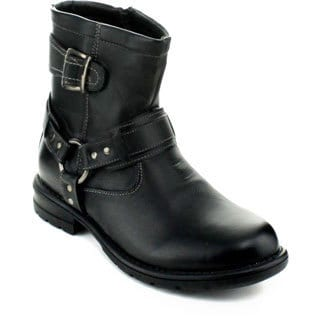 Mikoloti Men's Buckle Strap Motorcycle Boots
