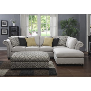 Emerald 2-piece Beige Chaise Sectional and Storage Ottoman