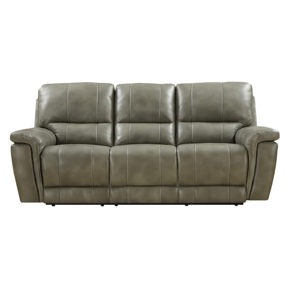Emerald Grey-taupe Leather Match Power Dual Reclining Sofa