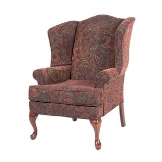 Elyse Wingback Paisley Print Accent Chairs