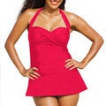 Shore Club Women's Plus Size Raspberry Bandeau/ Halter 1-piece Swimdress