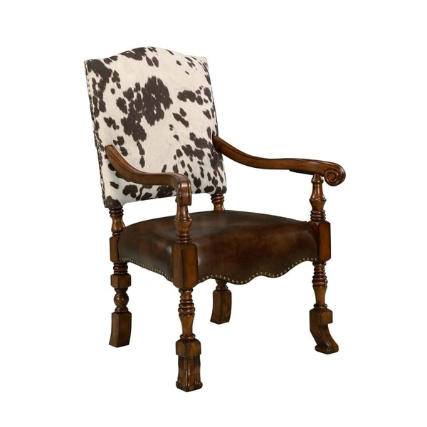 leather cowhide microfiber print solid wood nailhead accent arm chair