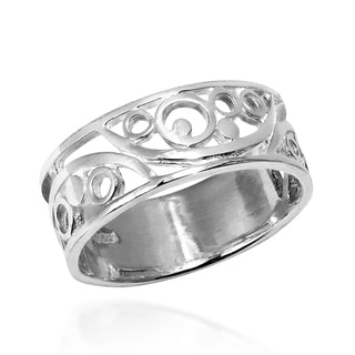 Filigree Abstract Open Circle 7mm Band Sterling Silver Ring (Thailand)
