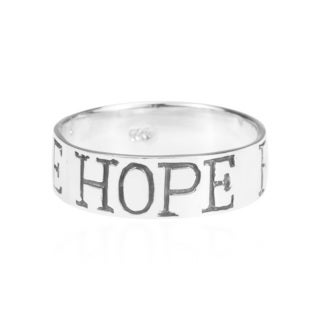 'Love Hope Faith' .925 Sterling Silver 6mm Wide Band (Thailand)