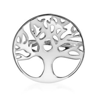 Concave Oak Tree of Life Branch .925 Silver Ring (Thailand)