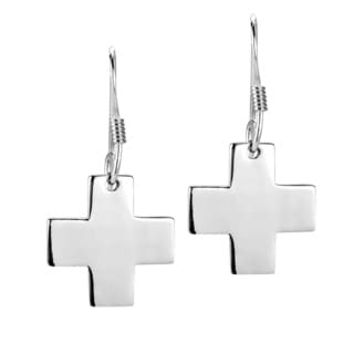 Simple Symmetric Cross Dangle Sterling Silver Earrings (Thailand)