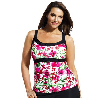 Beach Belle Carnation Women's Plus Size White Empire Tankini Top