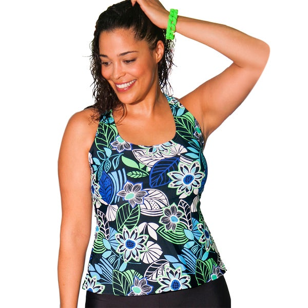 Aquabelle Limerick Women's Plus Size Black Racerback Tankini Top