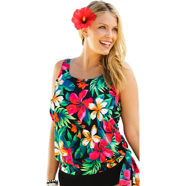 Beach Belle Fiji Women's Plus Size Floral Print Blouson Tankini Top