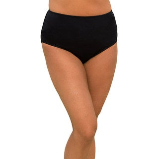 Women's Plus Size Black Brief-style Swim Bottoms