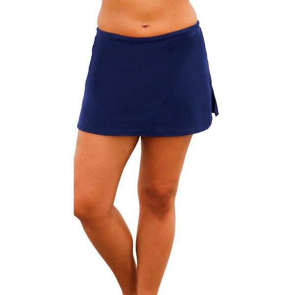 s plus size navy blue side slit skirted swim bottoms