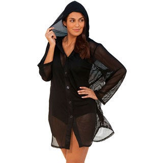 Swimsuits For All Women's Plus Size Nassua Black Mesh Hoodie Cover-up