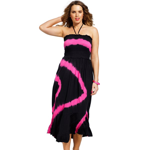 Swimsuits For All Women's Plus Size Pink Tie-dye Smocked Maxi Dress