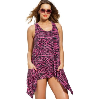 Swimsuits For All Women's Plus Size Fuchsia Zebra Burnout Tunic Cover-up