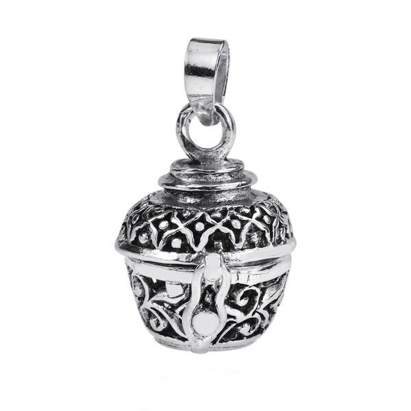 Handmade Floral Filigree Swirls Locket 925 Silver Pendant (Thailand) 13798485
