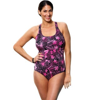 Aquabelle Women's Plus Size Pink Floral Cross-back 1-piece Swimsuit