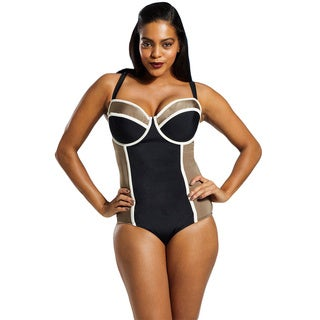 Tropiculture Women's Plus Size Black/ Taupe Cross-back Underwire 1-piece Swimsuit