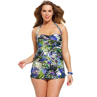 Shore Club Women's Plus Size Koa Multicolor Halter 1-piece Swimsuit