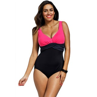 Shore Club Women's Plus Size Pink Colorblock Sash 1-piece Swimsuit