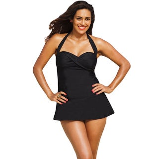 Shore Club Women's Plus Size Eclipse Black Twist Front 1-piece Swimdress