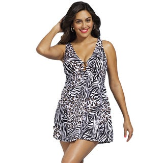 Shore Club Women's Plus Size Black Cheetah Ring Front 1-piece Swimdress