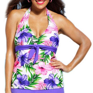 Shore Club Women's Plus Size Hibiscus Tie Front 1-piece Tankini Top