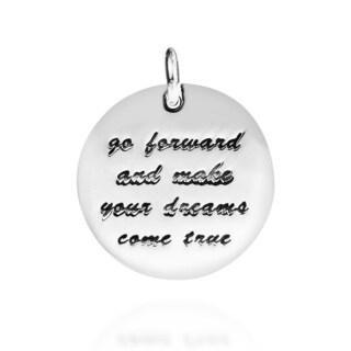 'Make Your Dreams Come True' .925 Silver Pendant Tag Charm (Thailand)
