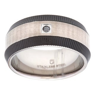Stainless Steel Black Diamond Accent Men's Wedding Band