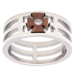 Stainless Steel White Diamond Accent Brown Cross Ring