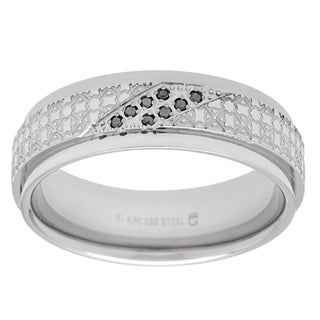 Stainless Steel Black Diamond Accents Laser-etched Men's Wedding Band