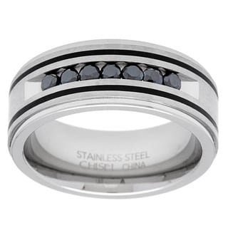 Stainless Steel 1/2ct TDW Round-cut Black Diamond Men's Band
