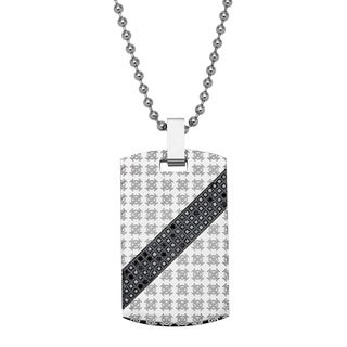 Stainless Steel 1/2ct TDW Round-cut Black Diamond Dog Tag