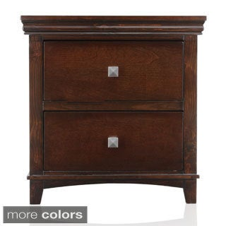 Furniture of America Tranzio Natural Transitional 2-Drawer Nightstand