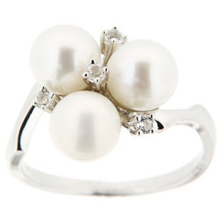 Pearlz Ocean Sterling Silver White Freshwater Pearl and White Topaz Cluster Ring