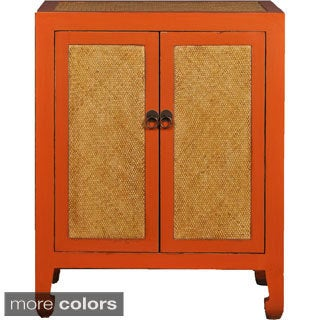 Vintage Chinese-style Cabinet with Rattan Weaving