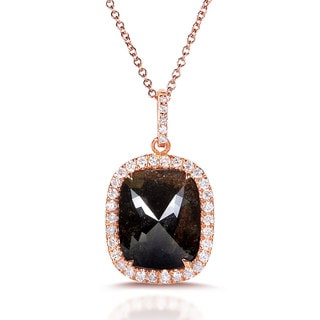 Annello 10k Rose Gold 2 7/8ct TDW Cushion-cut Rustically Unique Opaque Brown Diamond Necklace