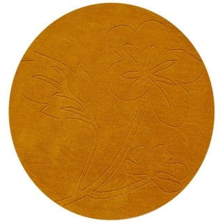 Alliyah Hand-loomed Sun Flower New Zealand Wool Rug (6' Round)