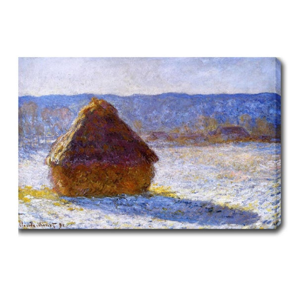 Claude Monet 'Grainstack in the Morning, Snow Effect' Oil on Canvas Art