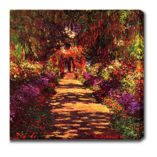 Claude Monet 'Garden Path at Giverny' Oil on Canvas Art