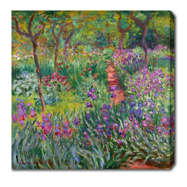 Claude Monet 'The Iris Garden at Giverny' Oil on Canvas Art