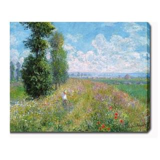 Claude Monet 'Meadow with Poplars' Oil on Canvas Art
