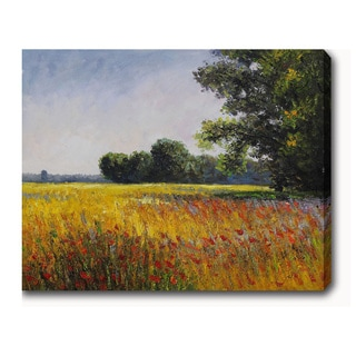Claude Monet 'Oat Fields' Oil on Canvas Art